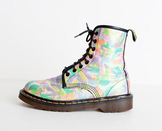 Size 7 Vintage 90s Dr Martens Rainbow Glitter Canvas Lace Up Boots 37