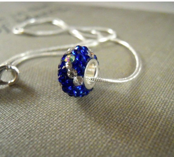 Sterling silver Swarovski Core Bead Blue and Silver Pendant - 90 Crystal Bead