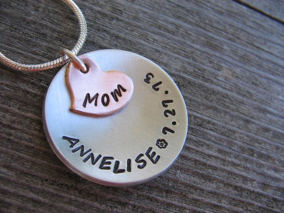 Copper and Aluminum -Family - Necklace (Choose Grandma, Mom, Mommy, Nana, ect. for the heart) and Childrens names around disc
