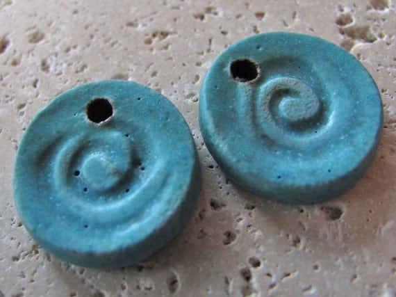 Crystal Aqua Spiral Charms - Handmade Ceramic Charms