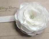 The Penelope Flower Clip plus Glitter Headband in White
