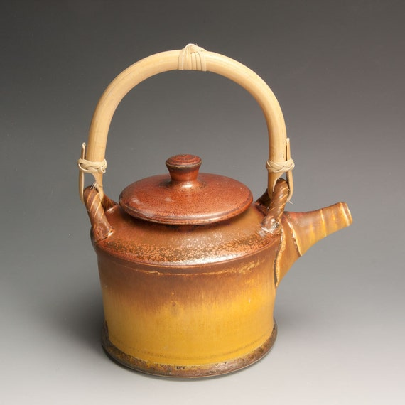 Sale - Handcrafted stoneware 4 cup teapot in Fall colors cane handle- 666