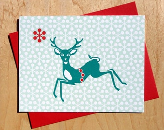 Handmade Letterpress Deerest Holiday Card