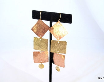 Hammered copper and brass earrings, mixed metal tribal dangles, gift under 40