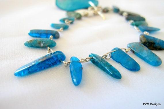 Tribal tennis bracelet, apatite points stacking bracelet, solid sterling silver fine jewelry