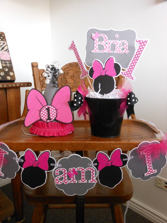 Items similar to minnie mouse happy 1st birthday party for 1st birthday decoration packages