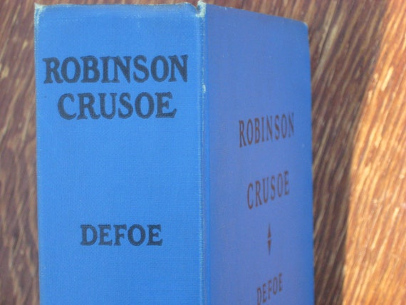 RESERVED - Vintage Book, Robinson Crusoe Daniel Defoe, Blue Hardback