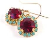 Red crystal dangle earring, turquoise & red earrings, 14k plated  earrings, 14k gold filled ear wire, real swarovski rhinestones