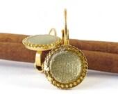 Gold Earrings, gold resin color, Dangle earrings, 14k gold plated, Matte Gold circle Earrings, Shiny earrings