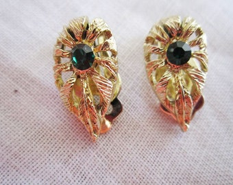 Vintage Gold Tone Leaf Design Clip On Earrings with Emerald Green Rhinestones