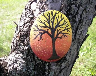 Big Autumn Tree Folk Hand Painted Cape Cod Beach Rock Stone Garden