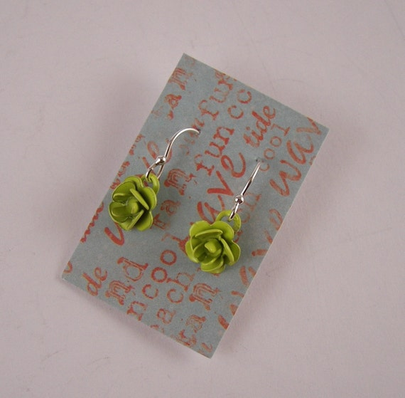 Lime Green Rose Small Cute dangle earrings Sterling The perfect gift