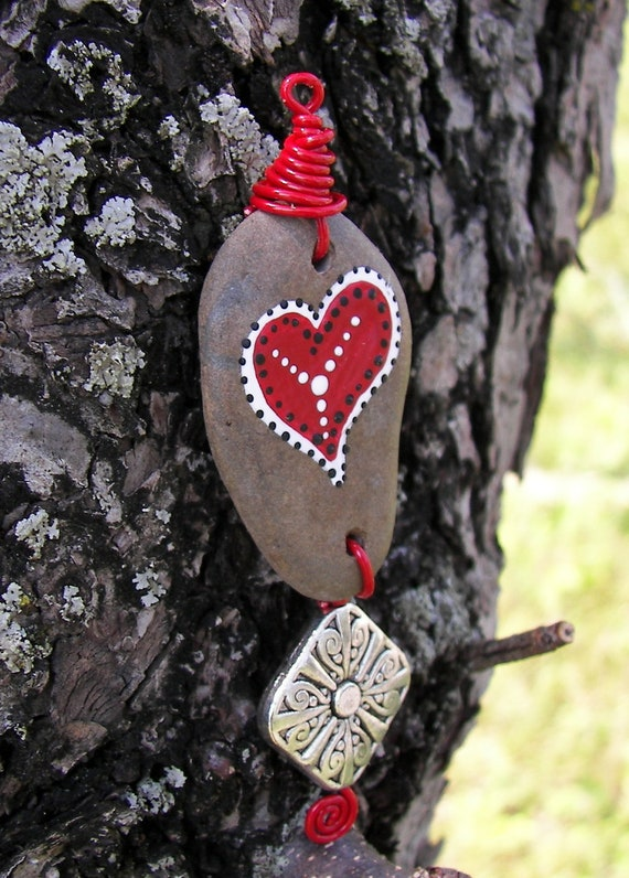 Love heart Pendant Ornament Hand painted Skaneateles lake Stone Rock