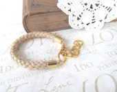 SAILOR rope bracelet with gold chain (jute)