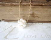 JACKIE white pearl cluster necklace (gold or silver)