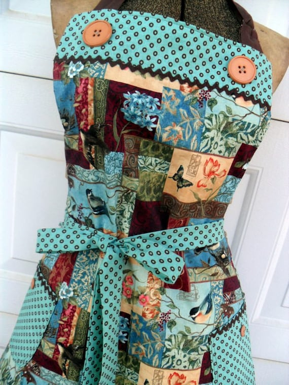 Retro Style Reversible Full Apron for Women in Teal and Brown