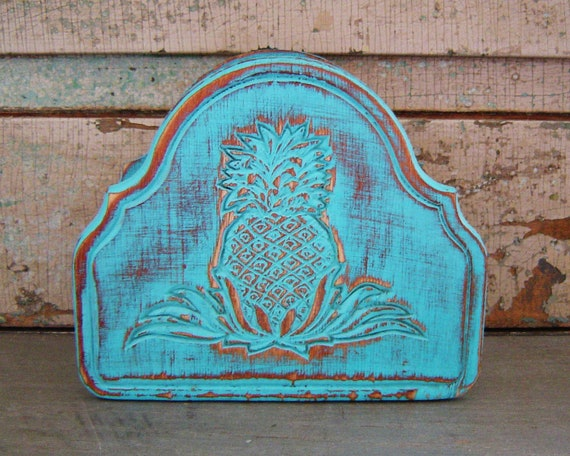 Napkin Holder Pineapple Tropical Turquoise Distressed Wood