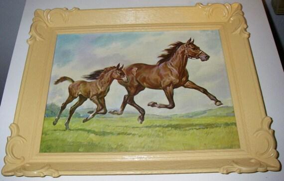 1950s Horses Set of 2 Prints In Plastic Frames - Vintage Dime Store