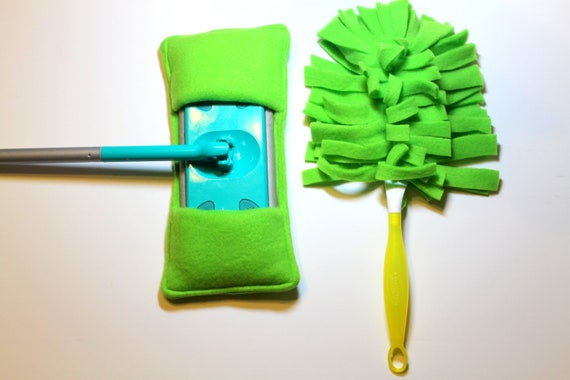 Reusable Fleece Swiffer Sweeper and Duster Covers Set Lime Green