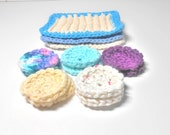 Makeup Removers, Scrubbies, Women's Gift, Sugar 'n Cream Yarn, Knit Scrubbie, Crochet Scrubby, Face Cloth, Dish Cloth, 10 Make Up Removers