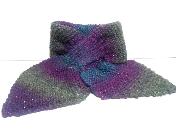 Slotted Scarf, Keyhole Scarf , Neck Warmer, Lotus Leaf Scarf, Purple and Teal Hand Knitted Scarf,  Wool Blend Scarf