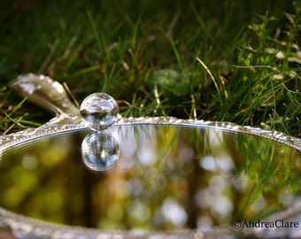 Mirror Mirror, Snow White, Reflection, Fine Art Photograph, 5x7, Whimsical, Dreamy, Marble, hand mirror, print, photo, picture, magical