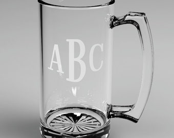 3 Personalized Groomsman Roman Monogram Beer Glass Mugs Custom Engraved