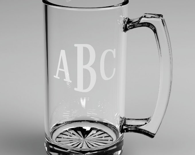 7 Personalized Groomsman Roman Monogram Beer Glass Mugs Custom Engraved