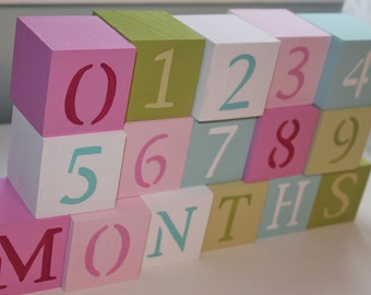 Baby Blocks- Photo Prop for Monthly Baby Pictures- Set of 16 Blocks- Multicolor Rainbow