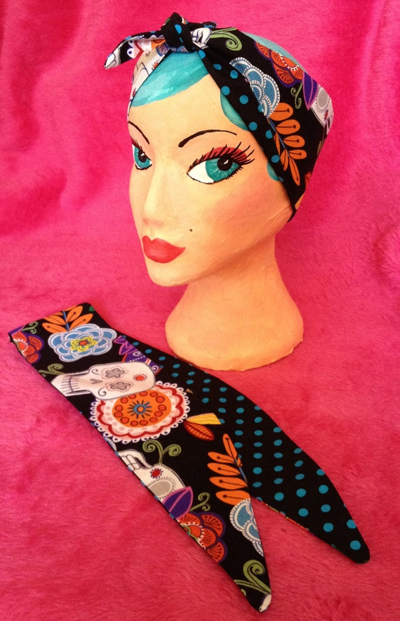 Day of the dead, Mexican, sugar skull and turqupise Polka Dot head scarf, bandana, reversable handmade