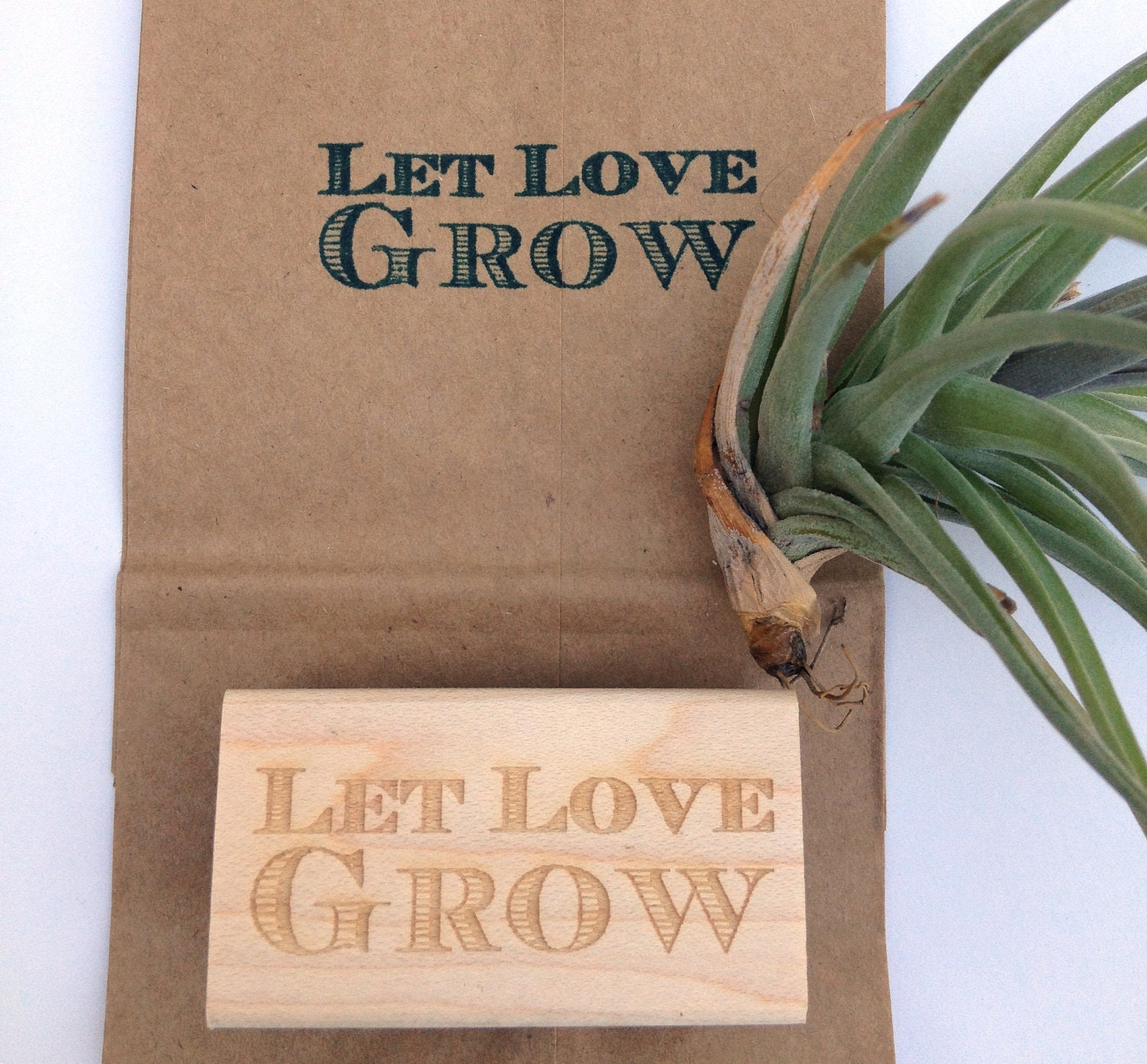 Let Love Grow. Custom Wedding Stamp For Favors Or Decoration