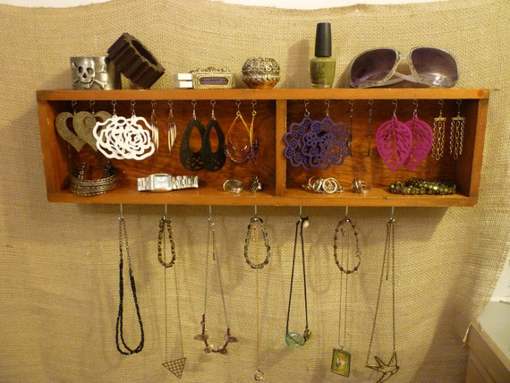 Upcycled Jewelry Organizing Display (Wood Two Section Drawer Tray)