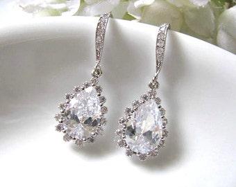 Bridesmaid Earrings, Cubic Zirconia Ear Hooks With Clear Cubic Zirconia Teardrops Bridal Earrings, Bridal Jewelry, Wedding Earrings