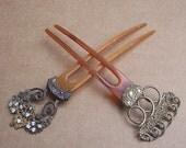Vintage hair combs 2 gilt metal Victorian or Edwardian hair accessories