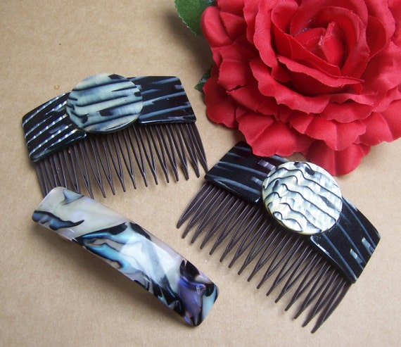 Vintage hair combs and barrette 3 marble effect hair accessories