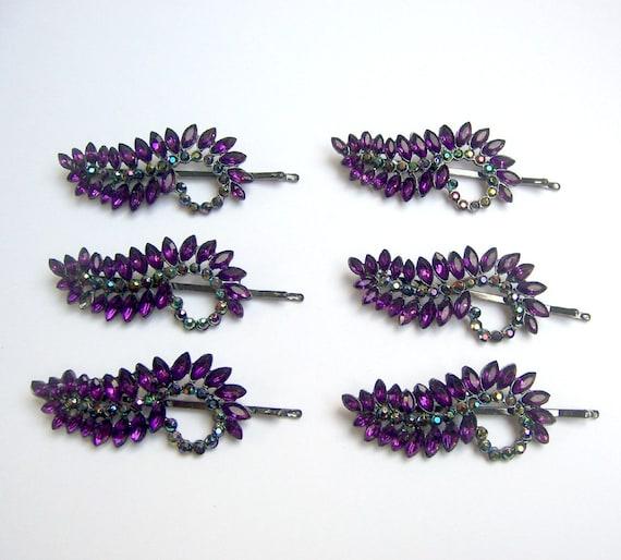 Vintage hair accessories 6 purple rhinestone hair clips barrettes