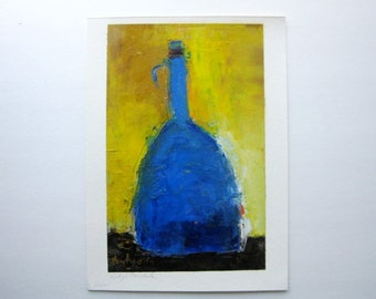 "blue and yellow oil painting, original oil Blue Bottle oil on paper 8,5""x13,5"""