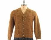 Mens 60s Knit Cardigan Sweater / Mustard Button Front V Neck Nerd / Medium