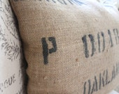 Rustic Burlap Coffee Bag Pillow