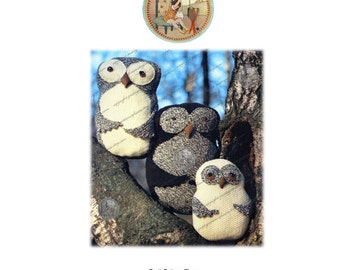 Owl Family Cushions to Knit - Vintage Knitting Pattern - PrettyPatternsPlease - PDF Email Delivery
