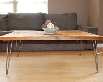 """Wood Coffee table with mid century hairpin legs made of reclaimed wood, Standard 1.65"""" top 18"""" tall x 48"""" L x 20"""" w"""