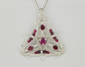Faceted Ruby and Garnet Sterling Argentium Silver Wire Wrap Pendant