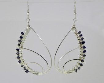 Iolite Butterfly Wing Argentium Sterling Silver Wire Wrap Earrings