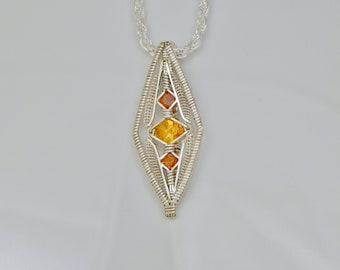 Citrine and Sunstone Diamond's Eye Argentium Sterling Silver Wire Wrap Pendant