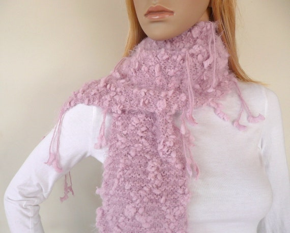 Pink Scarf Hand Knitted in Silky Soft Yarn with tassels Very Soft Scarf