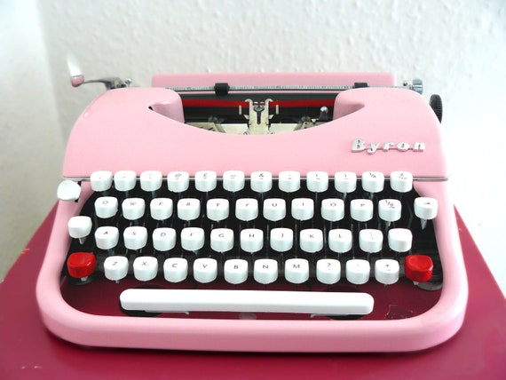 Powder Pink Retro Byron Typewriter RESERVED for Natalie