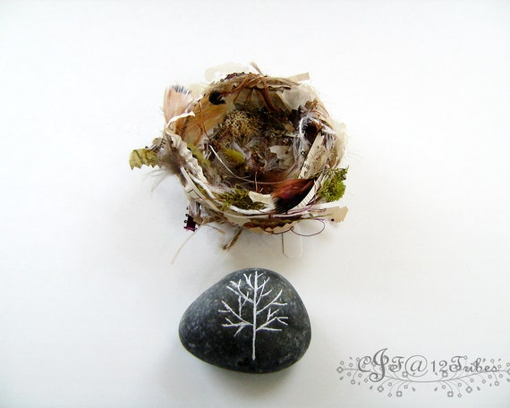 Fiber Art Bird's Nest and Paper Weight - Desk Accessory or Home Decor