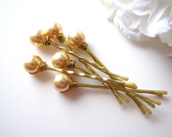 Gold Pearl Hair Pins, Wedding Set of 6