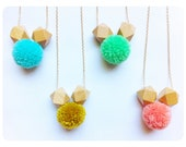 Shapes & Textures Neon Pom Pom Necklace / Geometric Wood Beads / Choose Your Color