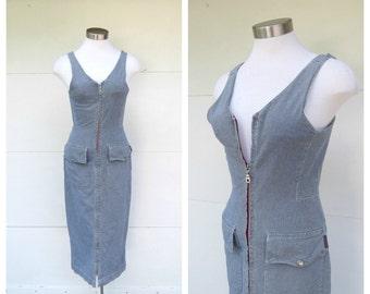 Vintage Guess Jumper Dress Denim Engineer Stripes Bodycon Front Zipper